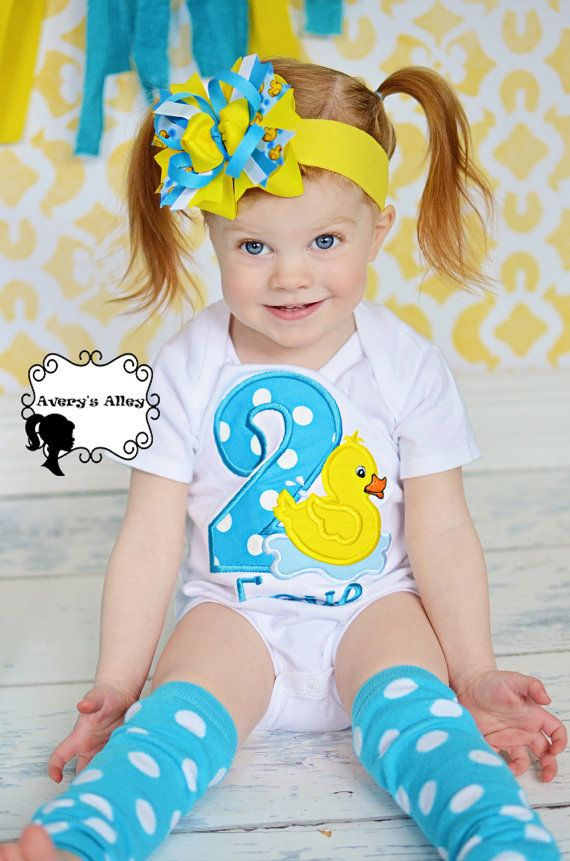Rubber Duck Birthday - Girls Applique White Shirt & Matching Hair Bow Set