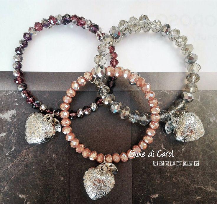 Bracciale donna con perle mezzi cristalli rosa antico, vinaccia, trasparente/argento, memory wire, filo armonico, fatto a mano, mod. Prisco di GioiediCarol su Etsy