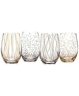 Boasting a playful design of of swirls, stripes and dots, Mikasa's contemporary stemless wine glass set keeps things fun and festive. The varying patterns also helps guests easily identify their glass