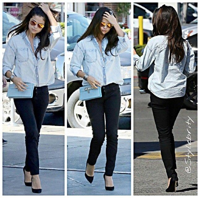 #selenagomez #justinbieber #reunion #boyfriend #girlfriend #shirt #buttonup #buttondown #jeans #skinnyjeans #comeandgetit #tour #rehab #gorgeous #heels #sandals #black #taylorswift #lorde #Music... - Celebrity Fashion