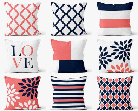 Throw Pillow Cover designs in coral, navy, and white. Individually cut and sewn by hand, features a 2 sided print and is finished with a zipper