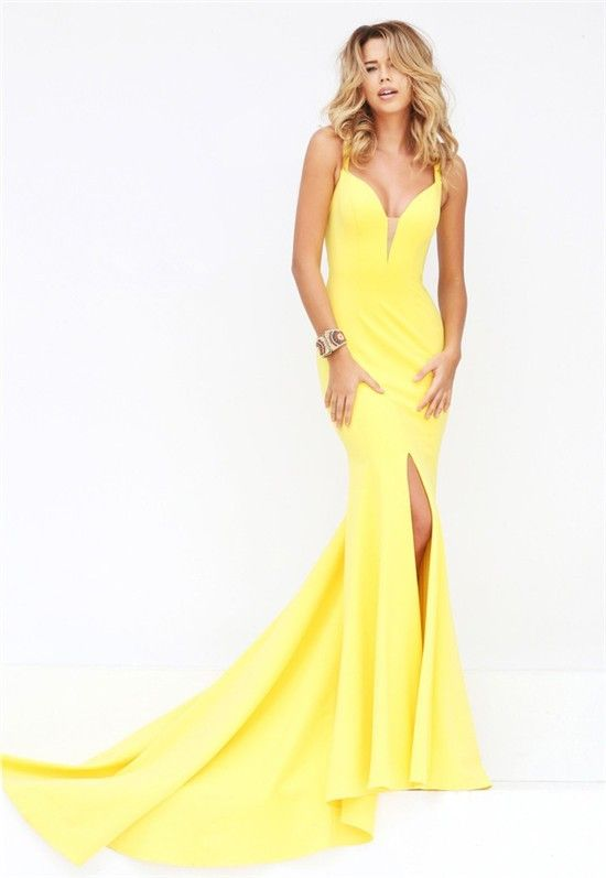 Unique Sexy Mermaid Plunging Neckline Backless High Slit Yellow Satin Prom  Dress