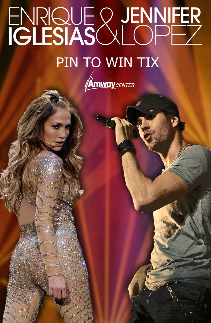 PIN TO WIN 2 tickets to see Jennifer Lopez and Enrique Iglesias Sept. 2. To Enter:  1) Follow @Amway Center 2) Comment on this image with why you want to see the show and your email address 3) Repin to a board of your choice and use hash tag #EnriqueJLoTourAC. Contest period ends at 11:59pm August 22, 2012. Winner will be selected by random drawing.