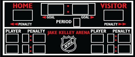 This is a recreation of hockey score board ... It is 34x14.5 comes with wall hanging brackets installed on the back... I paint the 1/2 sandyply with Chalkboard paint and vinyl graphic the rest... If you have any questions or personal touches you want to add to the board please let me know