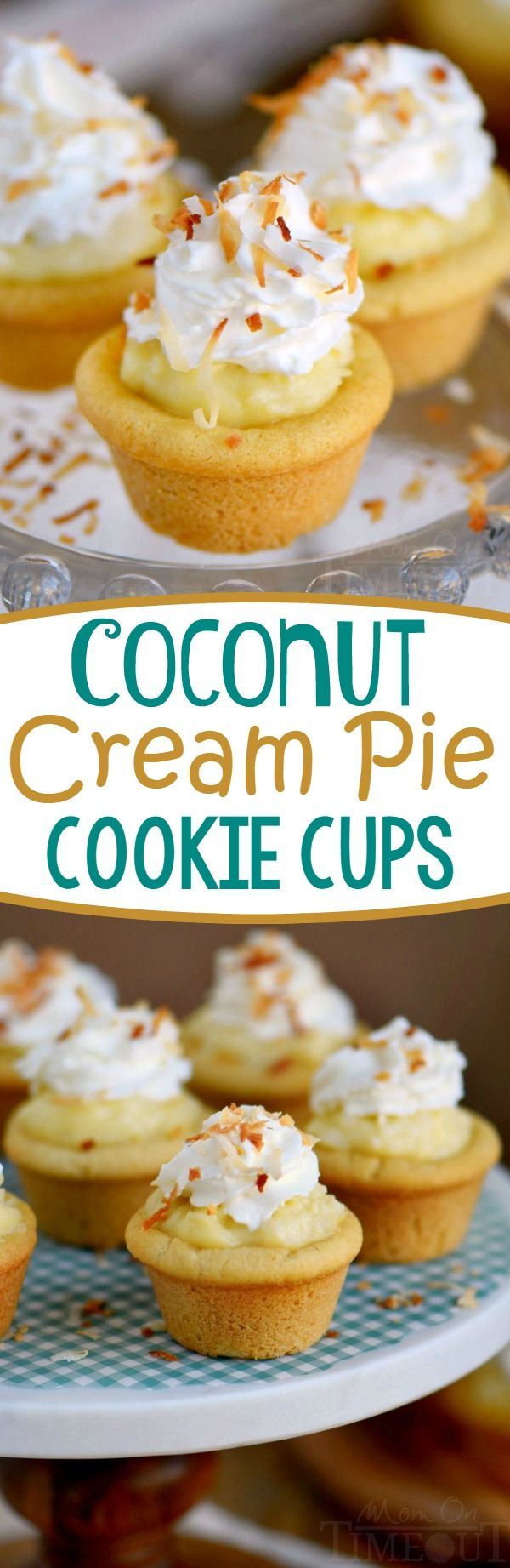 Coconut Cream Pie Cookie Cups! Two of my favorite desserts collide in this easy to make recipe that is sure to impress!