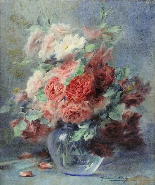 Still life of roses in a vase: Blanche Odin