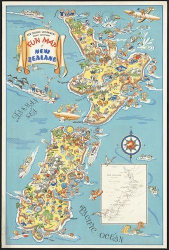 Vintage Fun Map of NZ