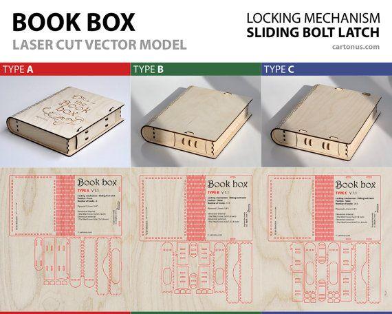 Wooden BOOK BOX with sliding bolt latch. 3 lock types par cartonus