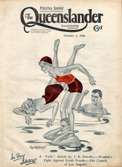 Vintage Reproduction Poster Print - Cover from The Queenslander 1936 - Water Babes | State Library of Queensland Shop