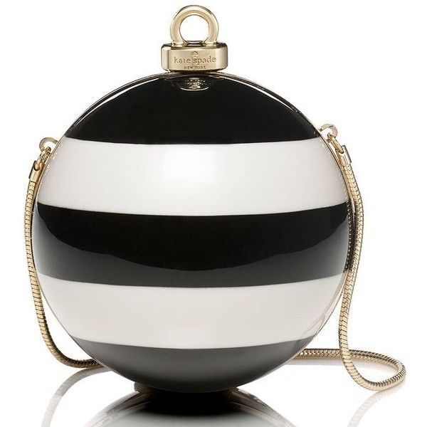 Kate Spade Stripe Ornament Clutch (425 SGD) ❤ liked on Polyvore featuring bags, handbags, clutches, kate spade, christmas purse, evening clutches, christmas handbags and white purse