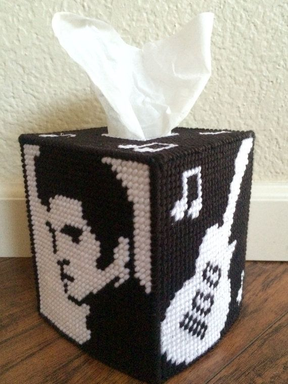 Cant find the perfect gift for a huge Elvis Presley fan? Order our Elvis Presley plastic canvas tissue box cover to accessorize their