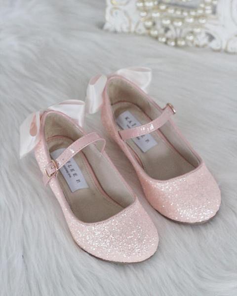 145e702f3340 Girls Glitter Heels - Allover DUSTY PINK Rock Glitter Maryjane Heels With  Satin Bow