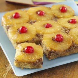 This is a yummy cake recipe.  I often use it as my base for cranberry orange upside down cake.  just switch pineapple, cherries, for cranberries, oranges diced and orange juice.  ... try it with peaches or a combination of cranberries and orange. —