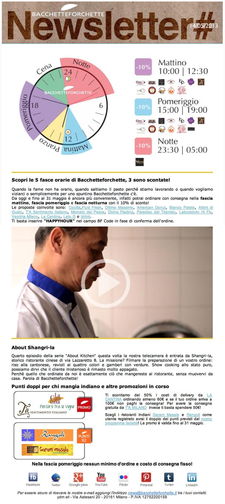 la newsletter di Bacchetteforchette del 14/5/2013, ricca di promozioni e col video About Kitchen suulo Shangri-la