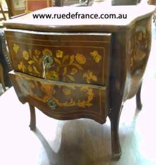 ANTIQUE- VINTAGE FRENCH MARQUETRY BOMBE BEDSIDE CABINET