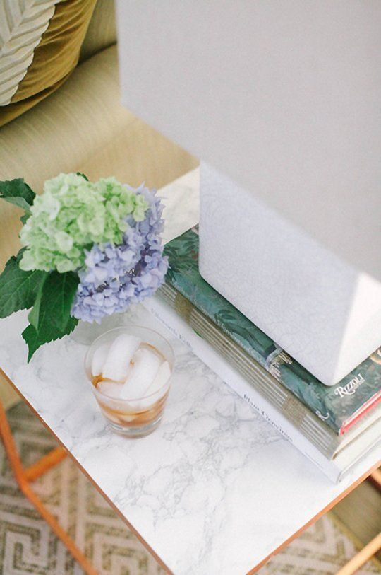 """""""Copper leaf, marble contact paper and some glue and scissors is all that was needed to transform an IKEA PS 2012 side table..."""" - so pretty!"""