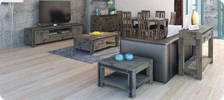 Industrial Look Coffee Table - Weathered Walnut