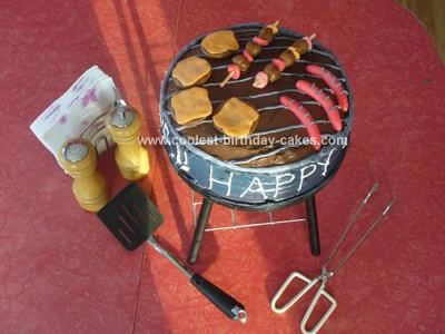 Homemade BBQ Cake: This BBQ cake was for my dad's birthday. We got the idea off of this website and kind of combined a couple of ideas together! My husband made the stand