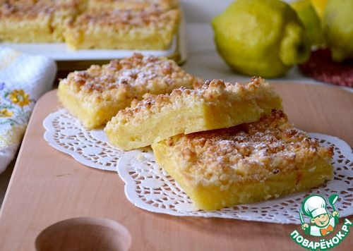 Лимонные квадратики с кокосовой крошкой - кулинарный рецепт
