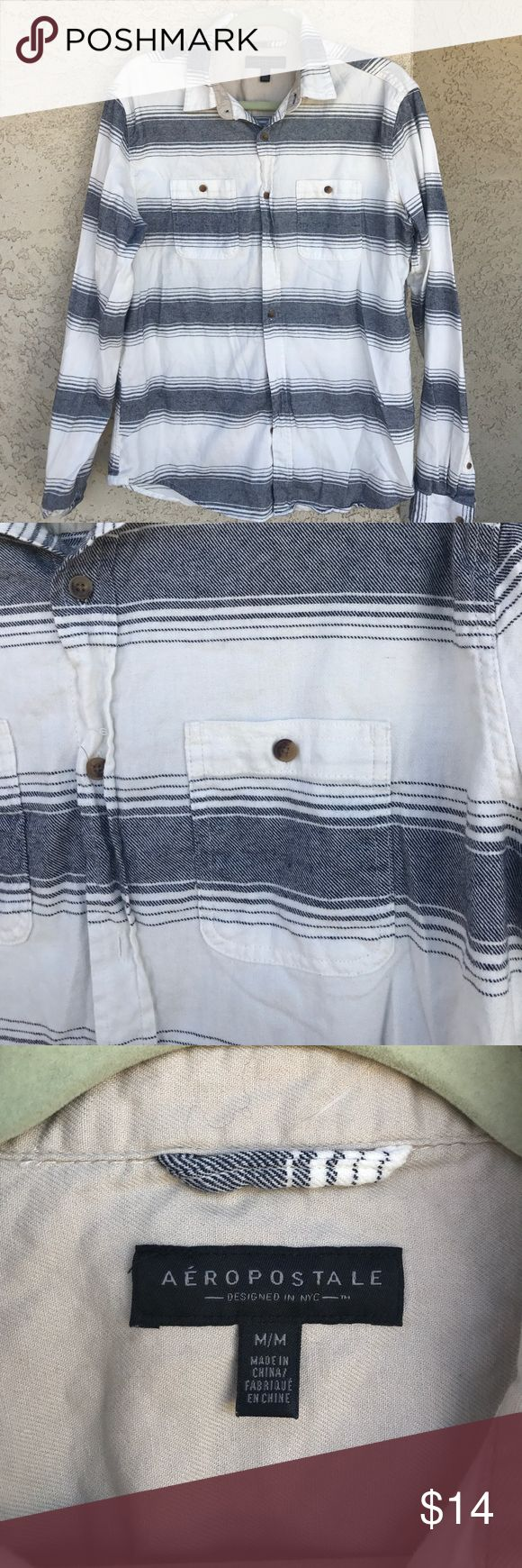 "Aeropostale Men's Casual Button Down Shirt Long sleeve button down shirt with dark blue stripes. Great condition, no rips or stains.                                     Length: 28"" Aeropostale Shirts Casual Button Down Shirts"
