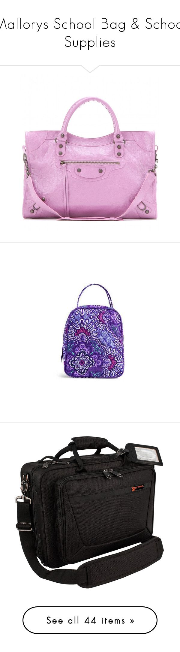"""""""Mallorys School Bag & School Supplies"""" by hiimmichelle ❤ liked on Polyvore featuring bags, handbags, tote bags, purple, leather handbags, purple leather handbag, purple tote bags, pink tote bags, handbags totes and home"""