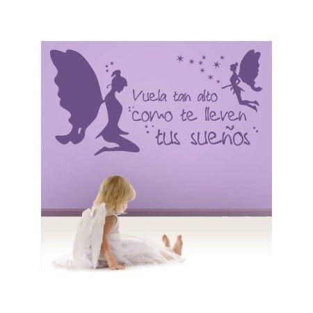 """Vinilos decorativos infantiles de hadas con la frase """"Vuela tan alto como te lleven tus sueños"""" con estrellitas para decorar paredes con textos. Pegatinas de hadas para paredes"""