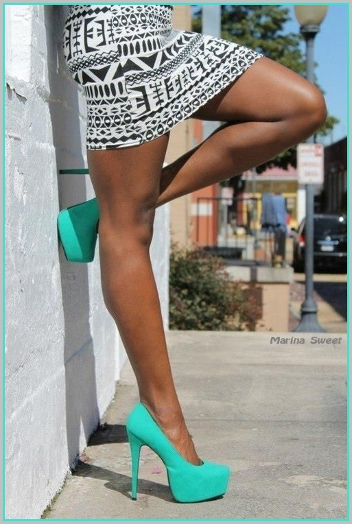 High Heels in Mint with B tribal print stretch mini skirt.