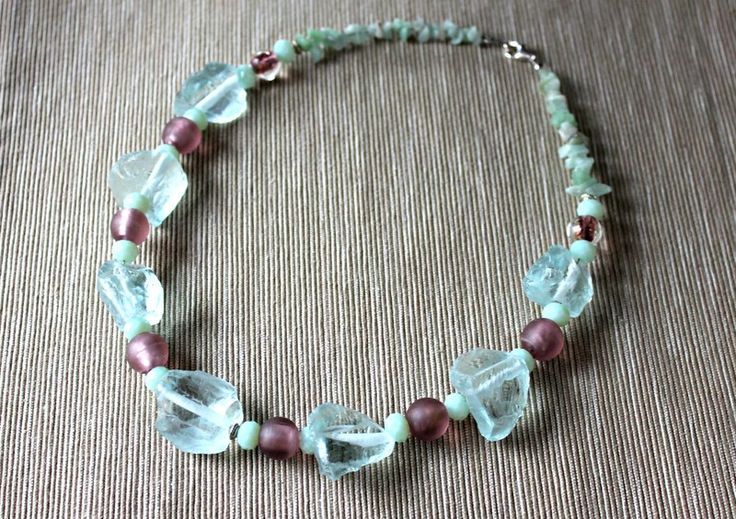 Necklace with aquamarine, jade and Venetian glass from Especially for You Available on http://en.dawanda.com/shop/Especially-4-You  facebook.com/especiallyfryou