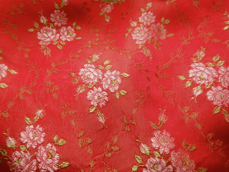 Antique Vintage French Red Satin Floral Roses Brocade Jacquard Fabric