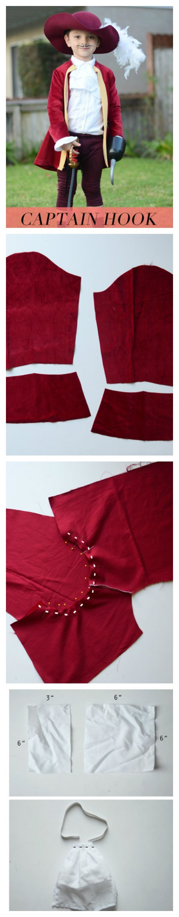 This is an adorable way to make a Captain Hook costume for your little one!