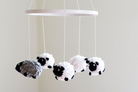 Baby Crib Mobile, Crochet Sheep Mobile, Nursery Decor