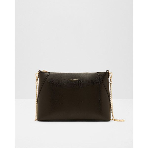 Ted Baker Leather cross body bag (140,555 KRW) ❤ liked on Polyvore featuring bags, handbags, shoulder bags, black, leather crossbody handbags, genuine leather shoulder bag, shoulder strap bags, ted baker purse and leather cross body purse