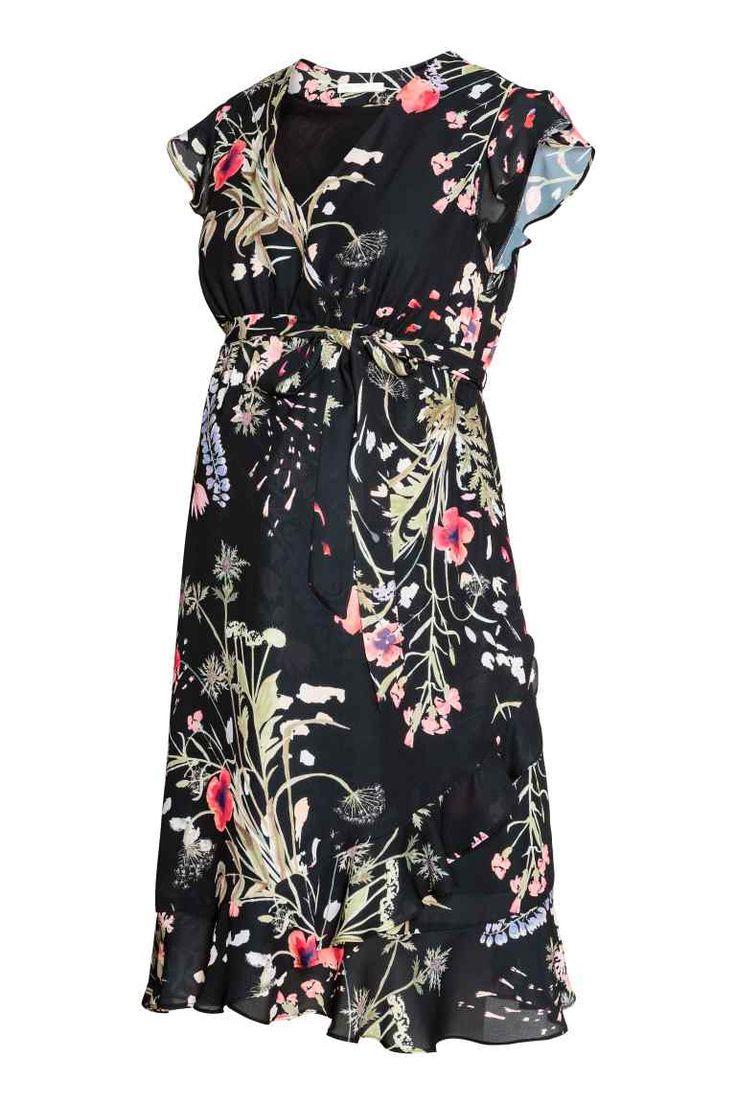 MAMA, zavinovacie šaty - čierna kvetovaná - ŽENY | H&M SK 1