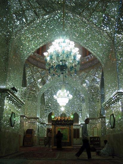 The glass mirror mosaic King of Light (Shah Cheragh) shrine - Shiraz, Iran