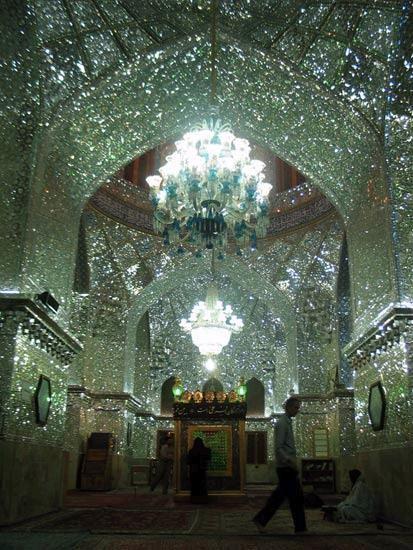 The glass mirror mosaic King of Light (Shah Cheragh) shrine - Shiraz, Iran