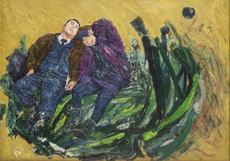 Dos soñando a medio día, de la serie El Evangelio del Trabajo, Oleo sobre papel, 2014