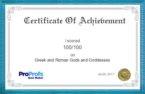 Greek and Roman Gods and GoddessesI's Certificate