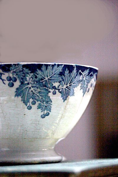 French vintage blue transfer-ware Café au Lait bowl love that soft color wall behind it with the blue too ...