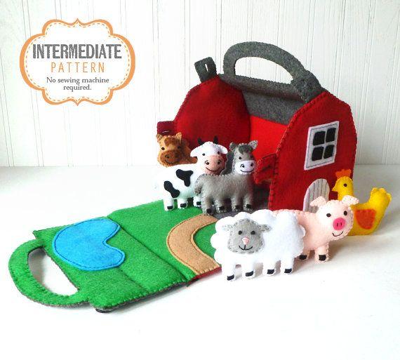 Barn and Farm Animals Pattern, Red Felt Barn, Felt Barnyard Animals Sewing Pattern, Hand Sewing