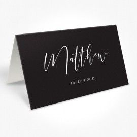 Modern Wedding Placecards, White Ink on Black Card, professionally printed Peach Perfect Australia