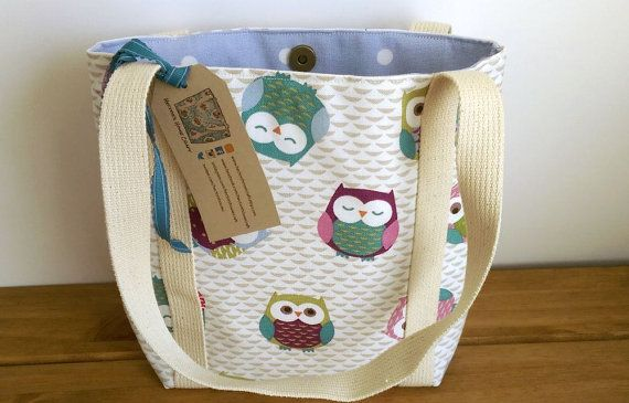 Owl Bag Small Tote Bag Shoulder Bag Lined Owl by HectorsHouseCraft