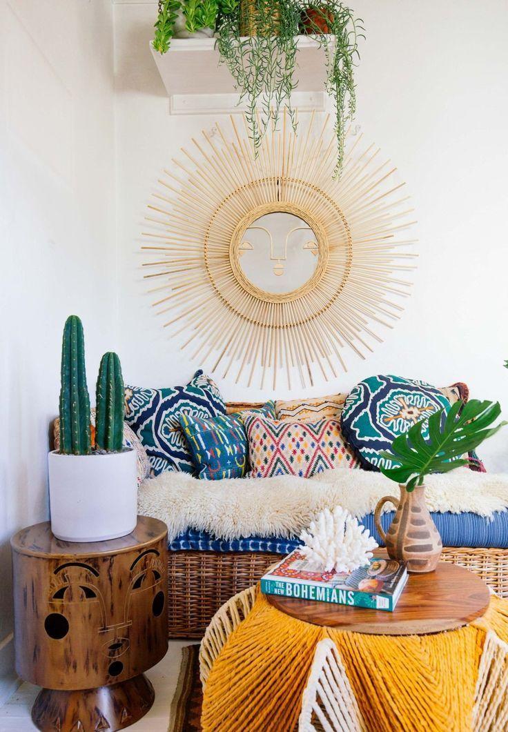 Emuna Wall Mirror Design By Justina Blakeney Bohodecor Bohemian Style Mirror Design Wall Boho Chic Living Room Best Home Interior Design #wall #mirror #living #room #decor