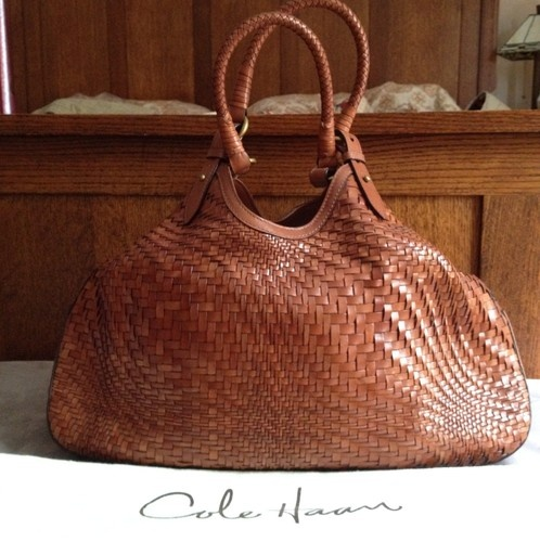 Cole Haan Genevieve Xl Brown Woven Leather Triangle Tote
