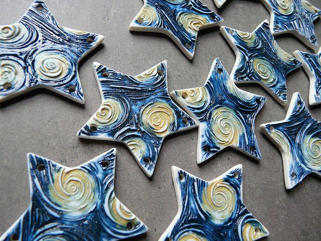 Starry Night Porcelain Jewelry Components by Nancy Schindler