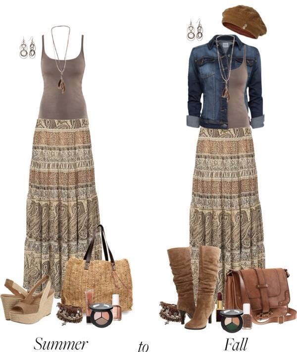Love the skirt and tank.  Would wear it with sandals in summer and denim jacket and boots in fall.