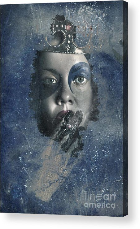 Grunge Acrylic Print featuring the photograph Icy Window Reflection. Wicked Queen Of Winter by Jorgo Photography - Wall Art Gallery