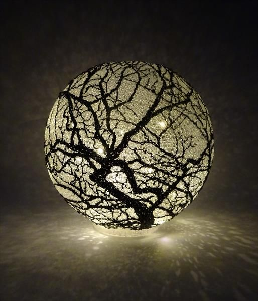 Illuminated Trees by Paula Horsley. Spherical light sculpture with 3d pen and ABS filament.