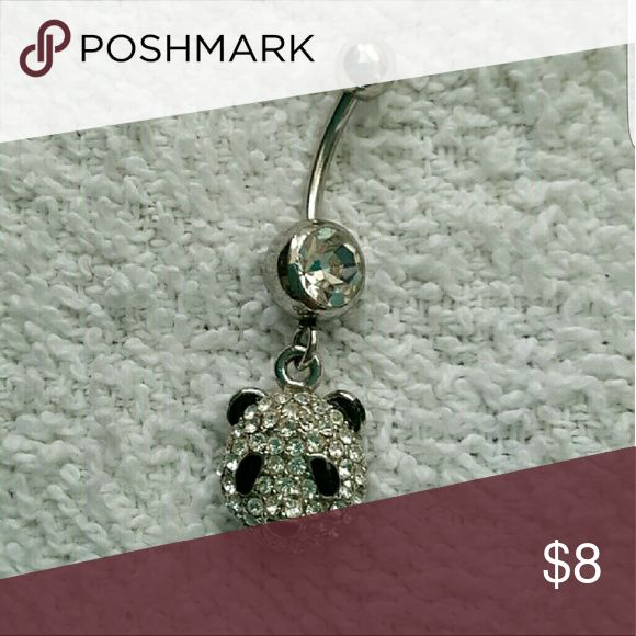 Crystal Panda Belly Ring In excellent condition!  Bought from a zales piercing pagoda.  Crystal panda belly ring, black and clear crystals, silver tone metal, surgical steel. Zales Piercing Pagoda Jewelry