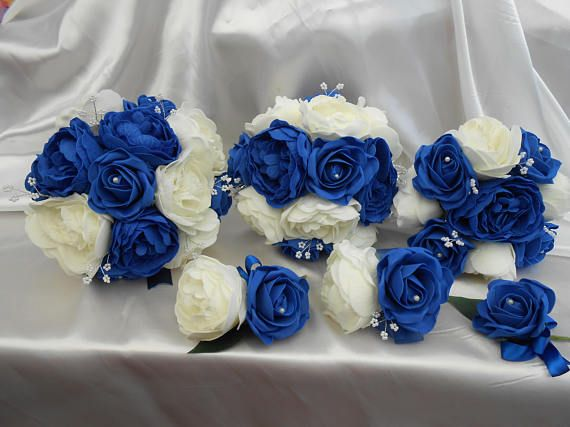 peony bouquet package royal blue ivory roses soft touch