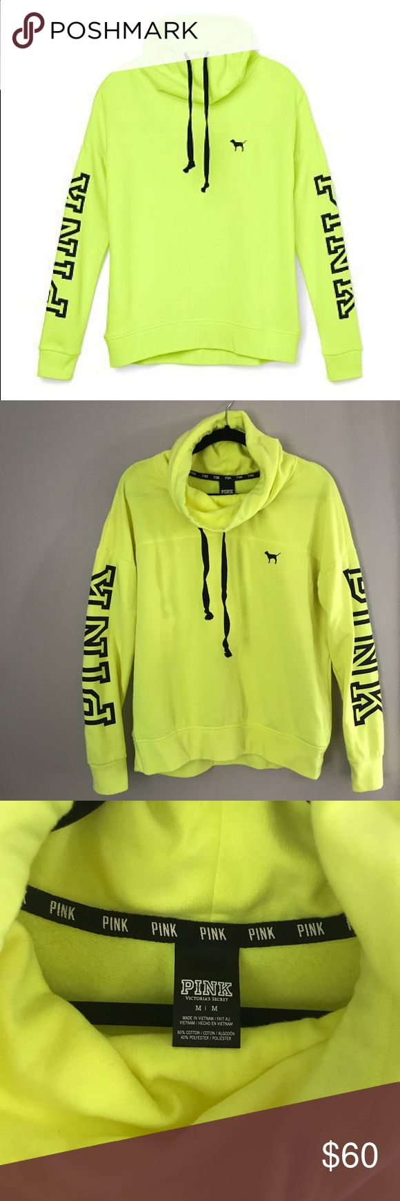 PINK Neon Yellow Cowl Neck Sweatshirt Brand: PINK by Victoria's Secret  Color: Neon Yellow with black detail Size: Medium Condition: worn once, great condition PINK Victoria's Secret Tops Sweatshirts & Hoodies